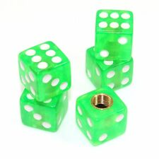 Set of 5 Clear Green Dice Tire/Wheel Air Stem Valve Caps for Car-Truck-Hot Rod