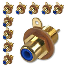 RCA Phono Chassis Panel Mount Gold Plated Female Socket Connector Blue x 10