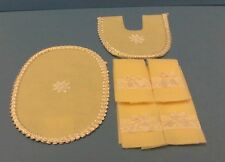 Dollhouse miniature Handcrafted set 6, yellow silk ribbon/bow bath towels & rugs