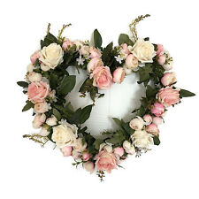 35cm Artificial Simulation Rose Door Wall Hanging Heart Flower Wreath Home Decor