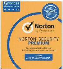 Symantec Norton Internet Security Premium 2017 Antivirus 5 Users 1 Year PC MAC