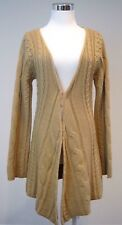 Minnie Rose Long Cardigan Cable Knit Bell Sleeve Brown Sweater Cashmere Blend XL