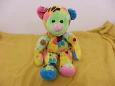 "Douglas Cuddle Toy Teddy Bear Bean Bag 11""T Stuffed Plush Green Flowers Pink CB2"