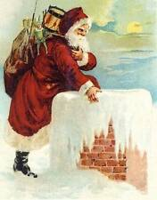 Santa on Snowy Roof, Chimney, bad of toys