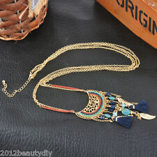 Occident Brand Punk Women Retro National Leaves Accessory Tassels Necklace