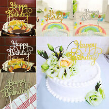 1PC Silver Happy Birthday Cake Topper Glitter Party Event Supplies Decorations