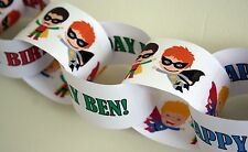 Personalised PAPER CHAIN Garland Decoration - Super Hero/Pow/Children/Birthday