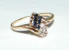 10K YELLOW GOLD SAPPHIRE and DIAMOND RING - SIZE 5 3/4