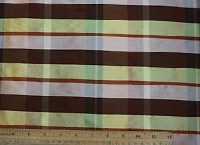 "Gold Peach Brown Dupioni Plaids 100% Silk Fabric 54"" Wide By The Yard (SD-685)"