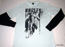 Hurley Polo Long Sleeve Tank Top  T shirt Tee Blouse  NWT L Navy