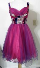 PROM DRESS S Chicas Purple Pink Short TULLE Full Skirt SEQUINS NWT