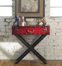 Nailhead Red Accent Table Wood Trunk Style End Nightstand Campaign Luggage Devon