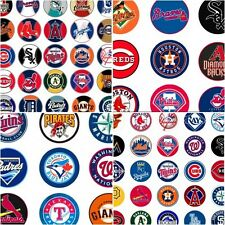 100 Precut assorted MLB All BASEBALL Teams BOTTLE CAP IMAGES 1 inch discs