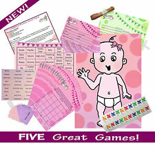 PINK/GIRL BABY SHOWER 20 PLAYER 5 GAME MULTI-PACK (Predictions, Bingo..) RRP £18