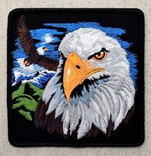 Iron On Applique Embroidered Patch Bald Eagle with Mountain Scene 4""