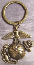 Military Key Ring U S Marine Corps globe and anchor antique brass toned NEW