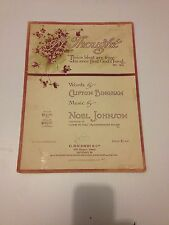 """Vintage Piano Music Sheet """"A Thought"""" Noel Johnson"""