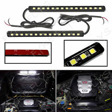 2x Super Bright White 15 LED light bars for Under Hood Engine Bay Lighting #Q4x2