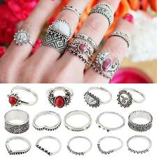 Unique 14Pcs/Set Bohemian Sliver Plated Knuckle Turquoise Gem Midi Ring Jewelry