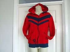 Lamont - Mens Red Blue Vintage Casual Sports Hoodie Jacket Size S Summer Winter