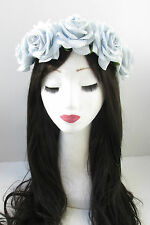 Large Light Grey Blue & Silver Rose Flower Hair Crown Garland Boho Headband V97