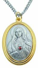 "Immaculate Heart of Mary Medal 1.5""L Pendant Metal Medallion w/ Stainless Chain"