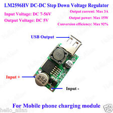 DC-DC Buck Step Down Converter 9V/12V/24V/36V/48V to 5V/3A USB Charger LM2596HV