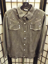 Women's Gepetto Gray Long Sleeve Western Embellished Shirt L Large