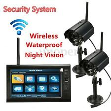 2 Wireless CCTV Camera & 7'' LCD Monitor DVR Motion Detect Home Security System