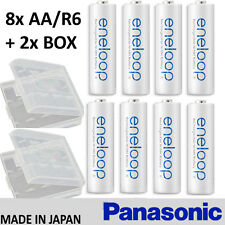 8x PANASONIC ENELOOP + 2x BOX --- 1900 mAh AA RECHARGEABLE BATTERIES 2100 CYCLES
