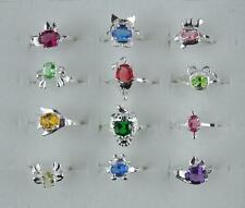 wholesale 10pcs 925 Silver Plated kid's animal CZ A+ Rings 4-6