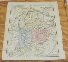 1870 Mitchell Antique COLOR Map of OH, MI, IN, KY/Hand-Colored