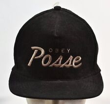 Obey POSTGAME Black Taupe Logo Corduroy Adjustable Snapback Cap Men's Hat