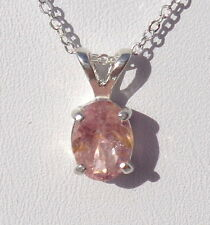 ".87ct Natural Pink Tourmaline .925 Sterling Silver Gemstone Pendant 18"" Necklace"