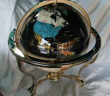 Side Table Mother of Pearl Globe with Compass - Brass Stand