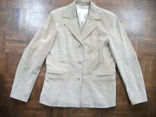 LIZ CLAIBORNE Womens M Camel Tan Suede Leather 3 Button Lined Jacket Blazer