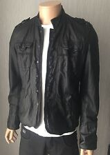Mens Black Real Leather Jacket / Rock Shirt By River Island Size M RRP £185