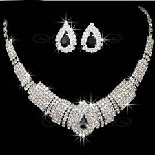 Wedding Bridal Party Prom Drop Rhinestone Crystal Necklace Earrings Jewelry Sets