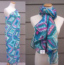 """Apricot Lane Boutique Long Scarf Swim Suit Cover Beach Wrap Geometric 72"""" x 40"""""""