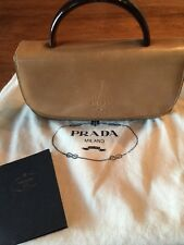 Authentic Vintage Prada Handbag/Clutch Tan Leather With Brown Handle.