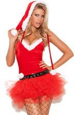 Sexy Xmas Miss Santa Sweetie Costume Outfit With Tutu Skirt Dress