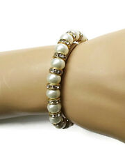 Beautiful Glass Pearl Elasticated Bracelet with Crystals Bridal Bridesmaid Prom
