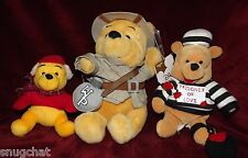 Disney Lot of 3 Winnie the Pooh Stuffed Plush Safari Prisoner of Love Winter EUC