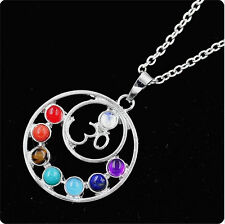 Silver Plated 7 Stone Beads Round Energy Of Life Healing Chakra Pendant Necklace