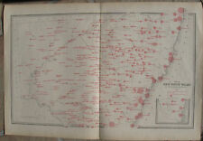 1886 Large Antique Map - NEW SOUTH WALES, AUSTRALIA - Average Annual Rainfall