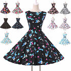 VINTAGE VTG CHIC 1950'S ROCKABILLY RETRO SWING PROM PARTY PIN UP PARTY TEA DRESS