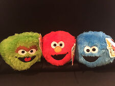 NEW -SESAME STREET SOFT PLUSH BALLS - SET OF THREE - COOKIE MONSTER, ELMO, OSCAR