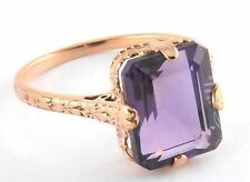 R273 Beautiful 9ct SOLID Rose Gold NATURAL Amethyst SOLITAIRE Ring size O