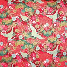 Japanese  Fabric 100% Cotton Crane Floral Red Per Half Metre 50cm TG123