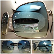 CLASSIC VINTAGE 80s RETRO Style SUN GLASSES Square Silver Metal Frame Green Lens